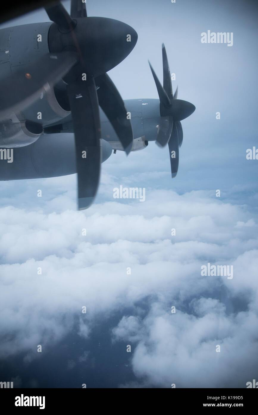View out the window as a U.S. Air Force WC-130J Super Hercules aircraft from the Hurricane Hunters flies into Hurricane Harvey August 24, 2017 over the Gulf of Mexico. Hurricane Harvey is now a category 4 storm expected to hit the Texas coast causing major damage and flooding. - Stock Image