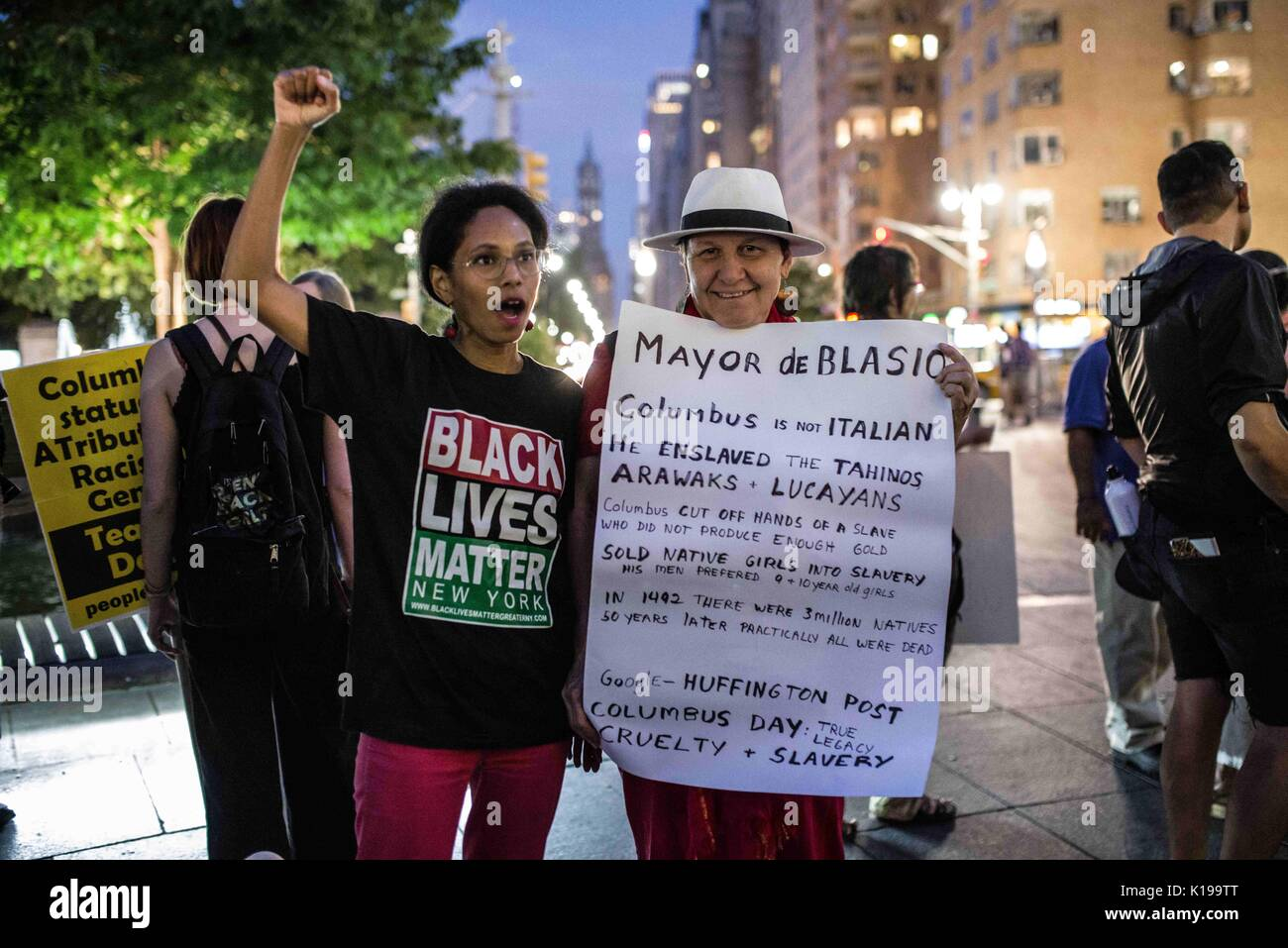 New York City, New York, USA. 25th Aug, 2017. About fifty New Yorkers protested against and strategized for the Stock Photo