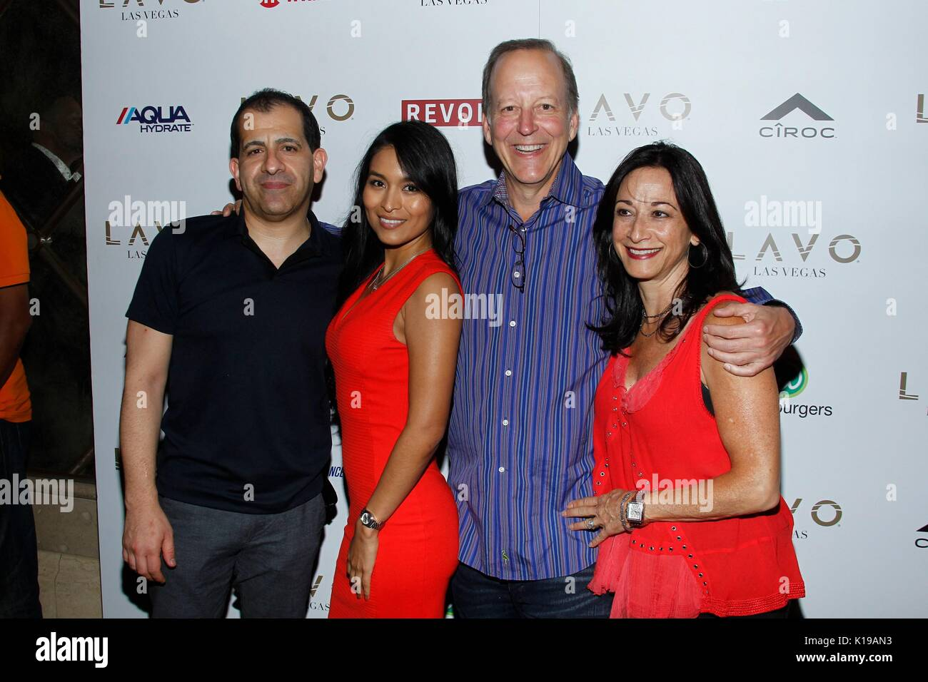Las Vegas, NV, USA. 25th Aug, 2017. Stephen Espinoza, Jeannena Flores, Jim Gray, Fran Gray at arrivals for Double - Stock Image