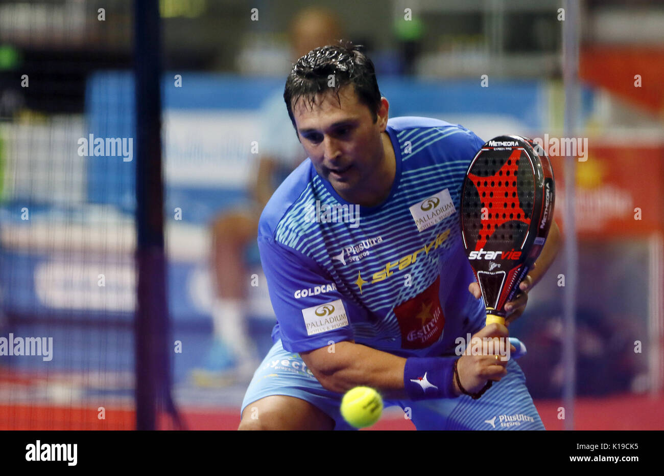 Padel player Matias Diaz in action during the Alicante Open 2017 men's semifinal, the sixth event of the professional circuit World Padel Tour, in Alicante, Spain, 26 August 2017. EFE/Manuel Lorenzo - Stock Image