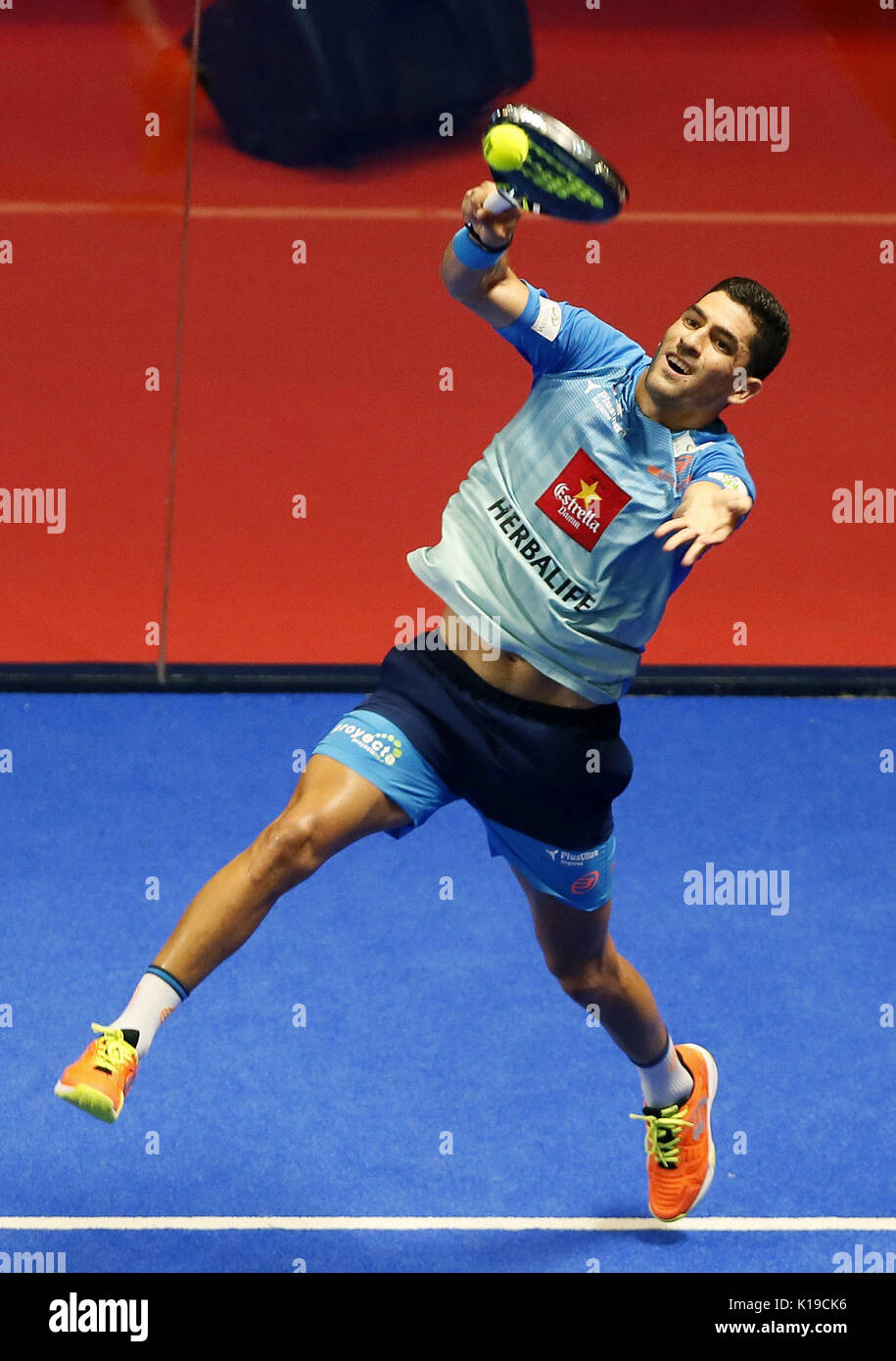 Padel player Maximiliano Sanchez in action during the Alicante Open 2017 men's semifinal, the sixth event of the professional circuit World Padel Tour, in Alicante, Spain, 26 August 2017. EFE/Manuel Lorenzo - Stock Image