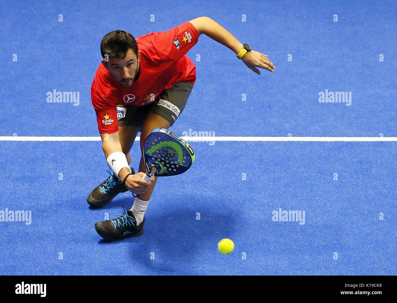 Padel player Daniel Gutierrez 'Sanyo' in action during the Alicante Open 2017 men's semifinal, the sixth event of the professional circuit World Padel Tour, in Alicante, Spain, 26 August 2017. EFE/Manuel Lorenzo - Stock Image