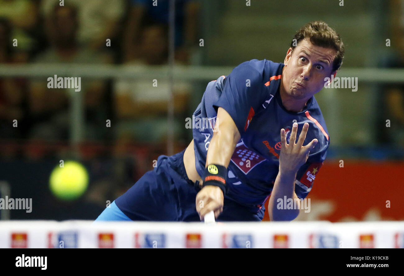 Padel player Francisco Navarro in action during the Alicante Open 2017 men's semifinal, the sixth event of the professional circuit World Padel Tour, in Alicante, Spain, 26 August 2017. EFE/Manuel Lorenzo - Stock Image