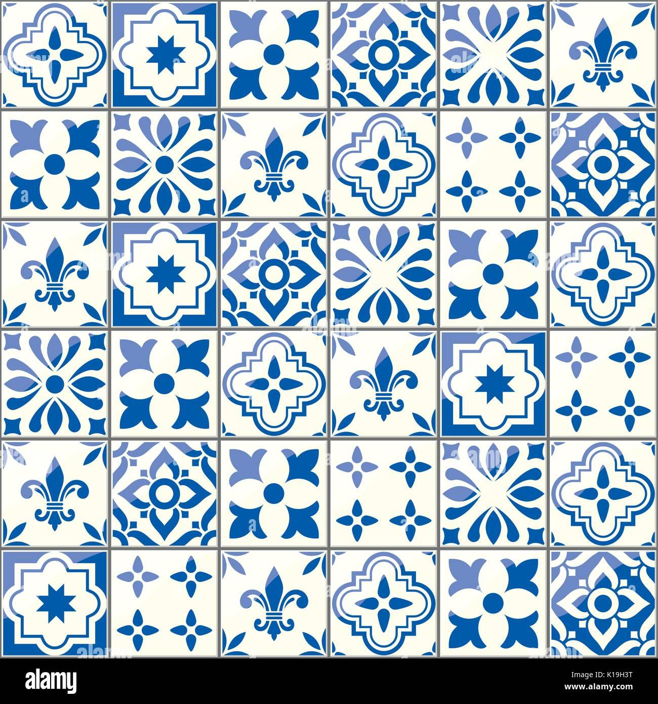 Geometric vector tiles pattern, Portuguese or Spnish seamless blue tile design, Azulejos background - Stock Vector