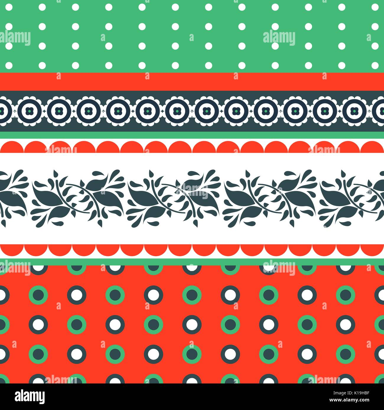 Folk floral red and green seamless vector pattern. - Stock Vector