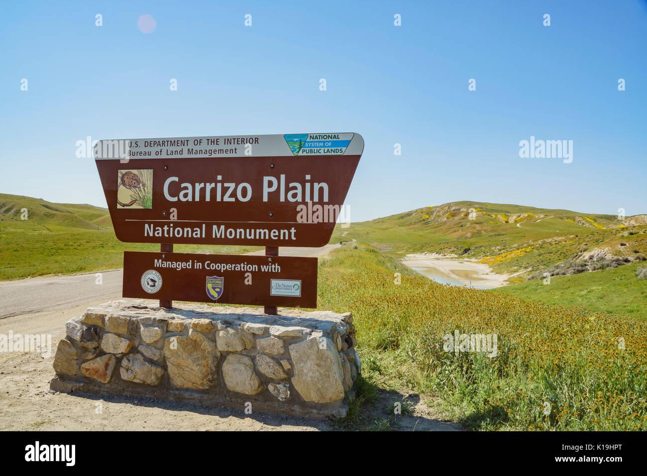 Entrance sign of Carrizo Plain National Mounment, California, U.S.A. - Stock Image