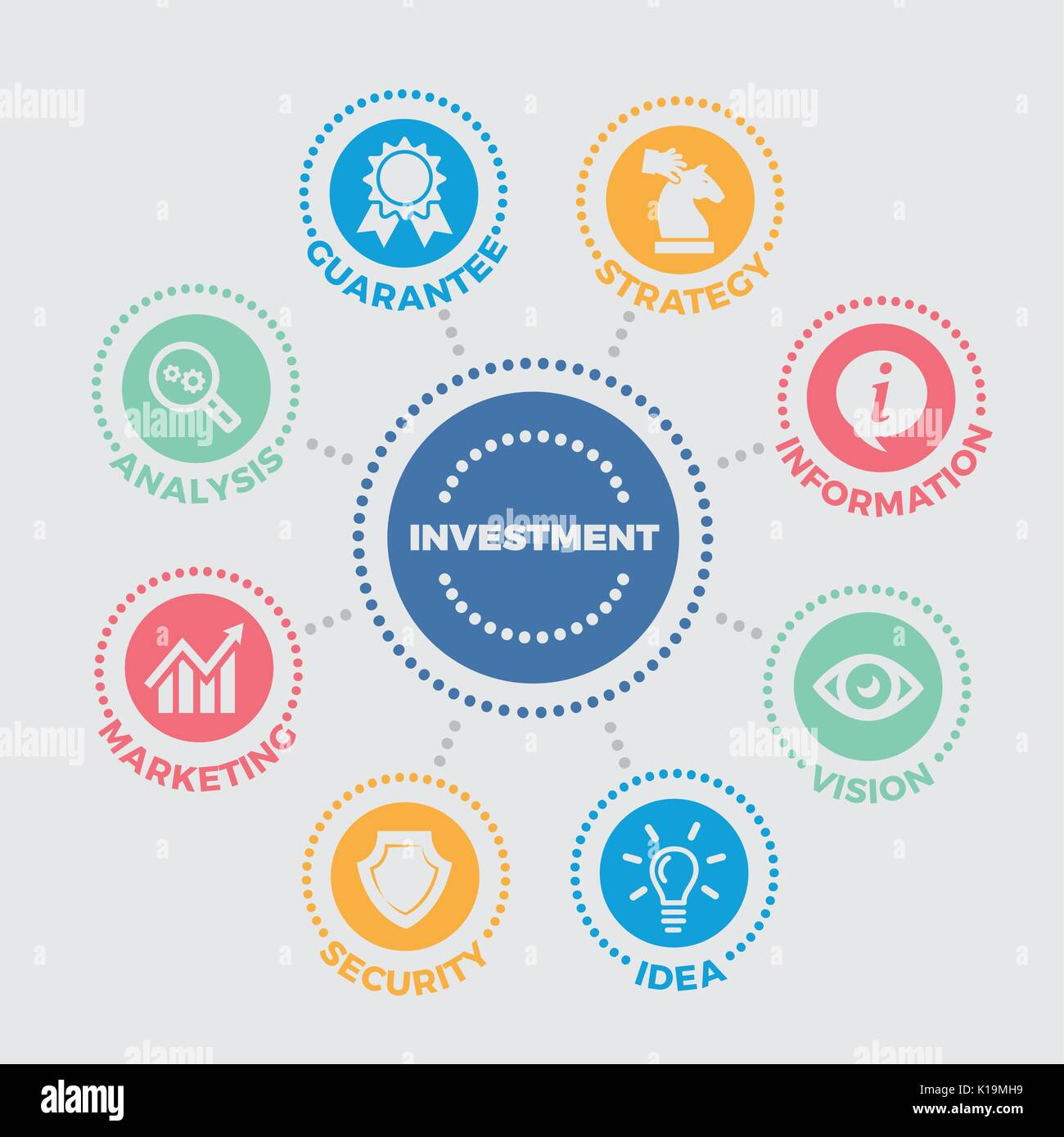 Investment Illustration with icons - Stock Image