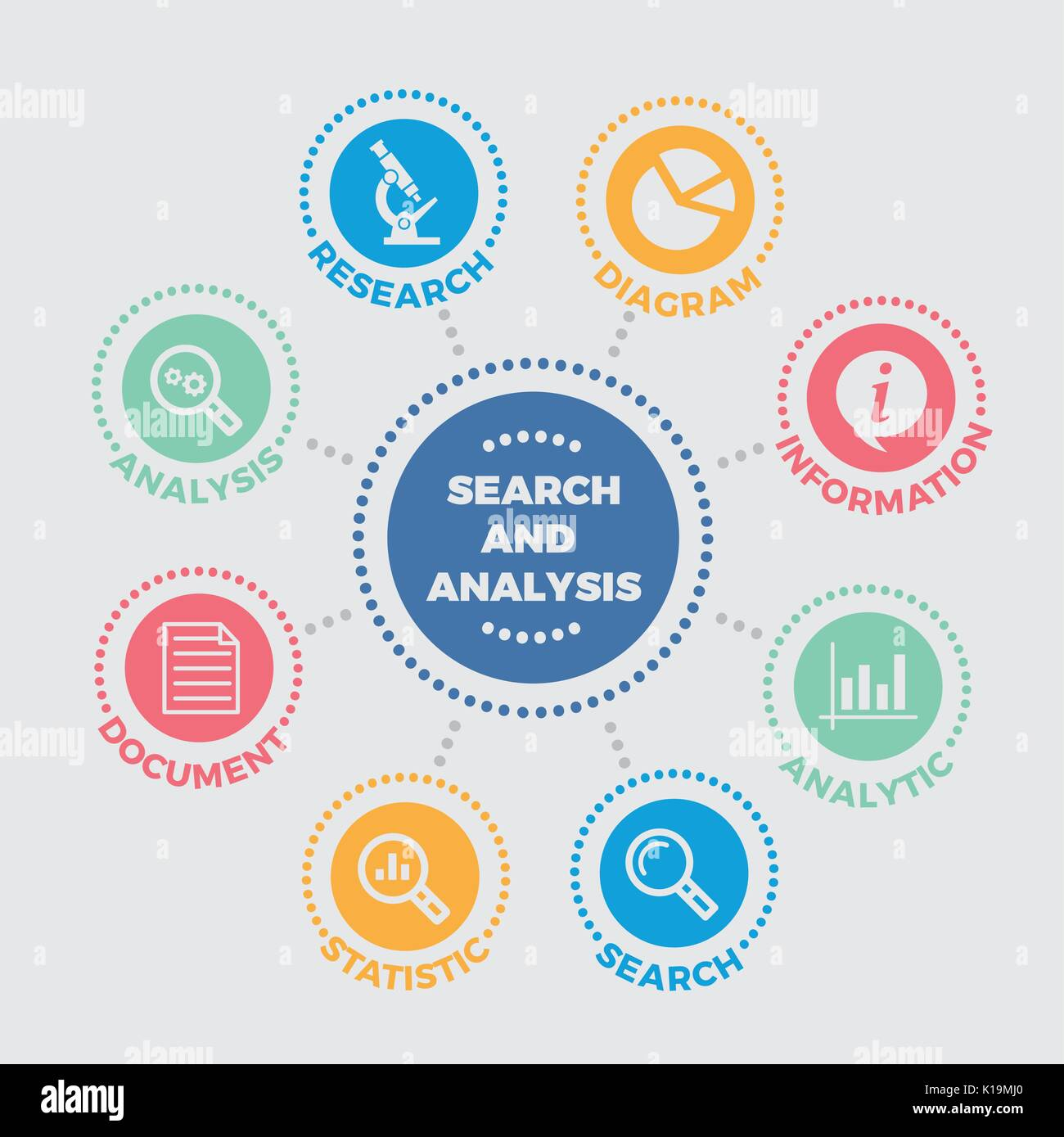 Search and analysis Illustration with icons - Stock Vector