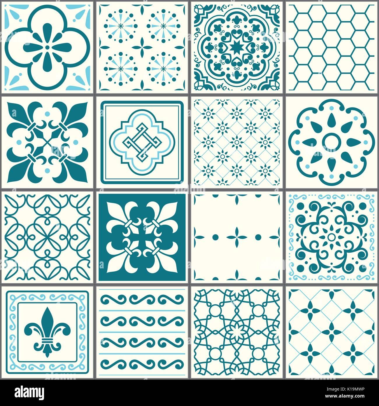 Portuguese tiles pattern, Lisbon seamless turquoise tiles, Azulejos vintage geometric ceramic design - Stock Vector