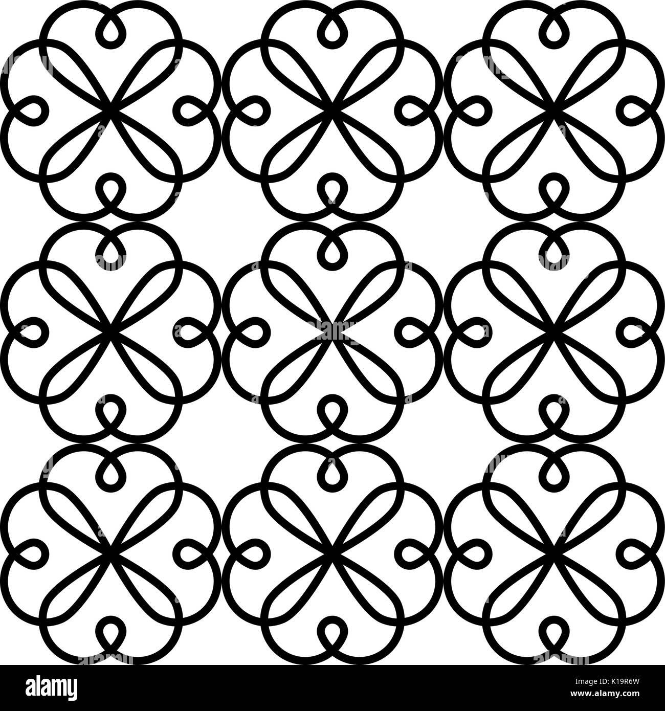 Geometric vector tile design, Portuguese or Spanish seamless black and white tiles, Azulejos pattern - Stock Vector