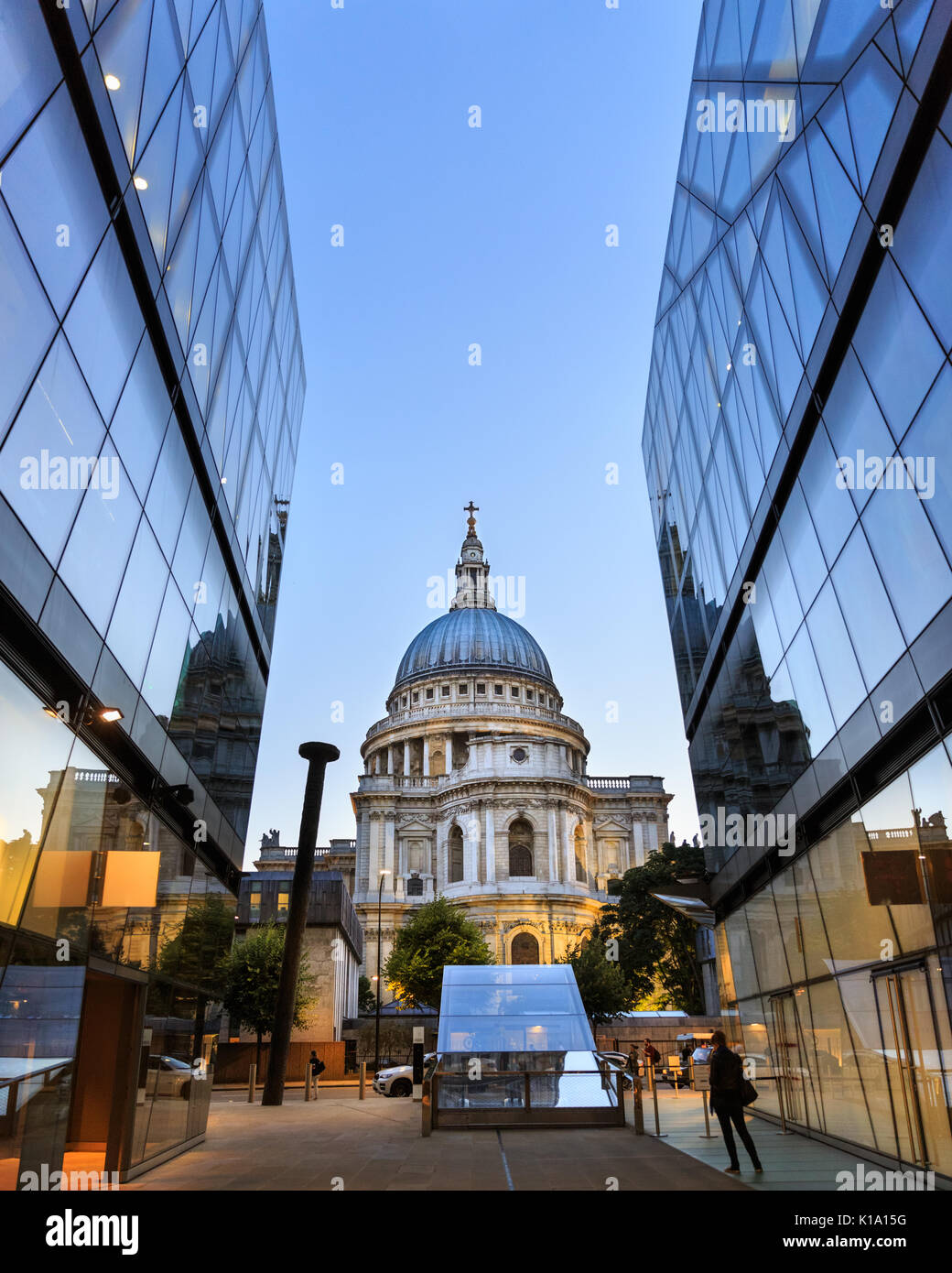 Blue hour evening view of St Paul's Cathedral from One New Change, London - Stock Image