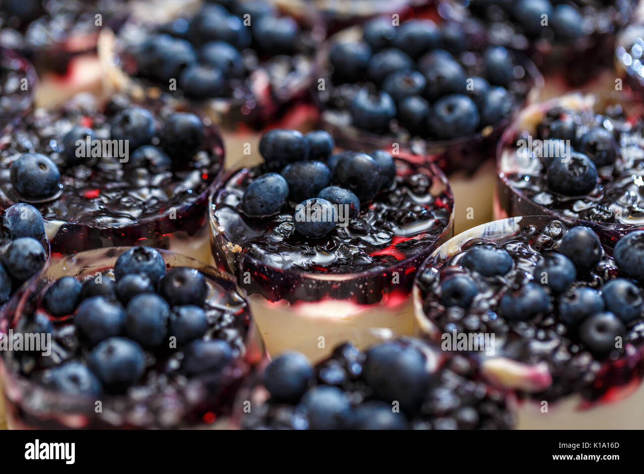 Mini-cheesecakes decorated with blueberries waiting to serve - Stock Image
