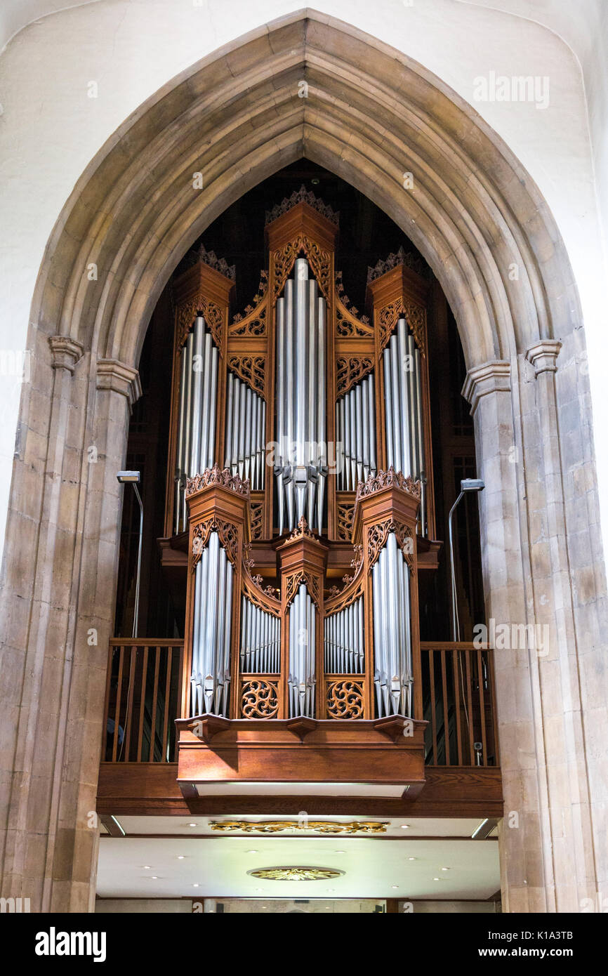 Organ pipes of the Nave Organ inside the Chelmsford Cathedral, Chelmsford, UK - Stock Image