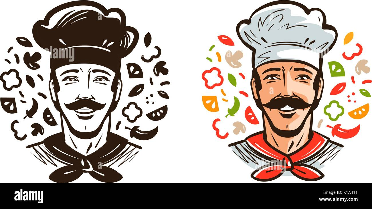 Portrait Of Happy Chef Cook Cuisine Cooking Logo Or Label