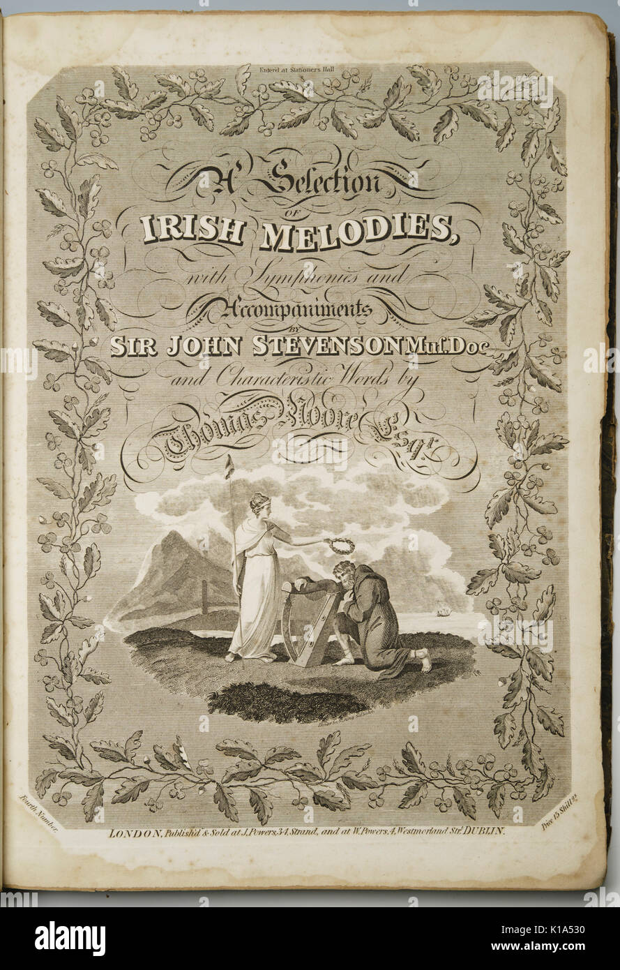 Sir John Stevenson's Irish Melodies, with words by Thomas Moore. Early 19th century music book frontispiece. - Stock Image