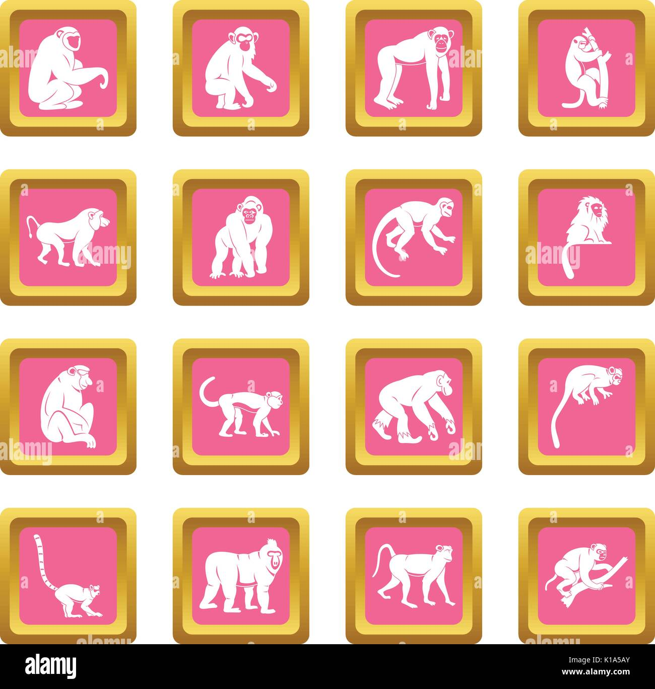 Monkey types icons pink - Stock Vector
