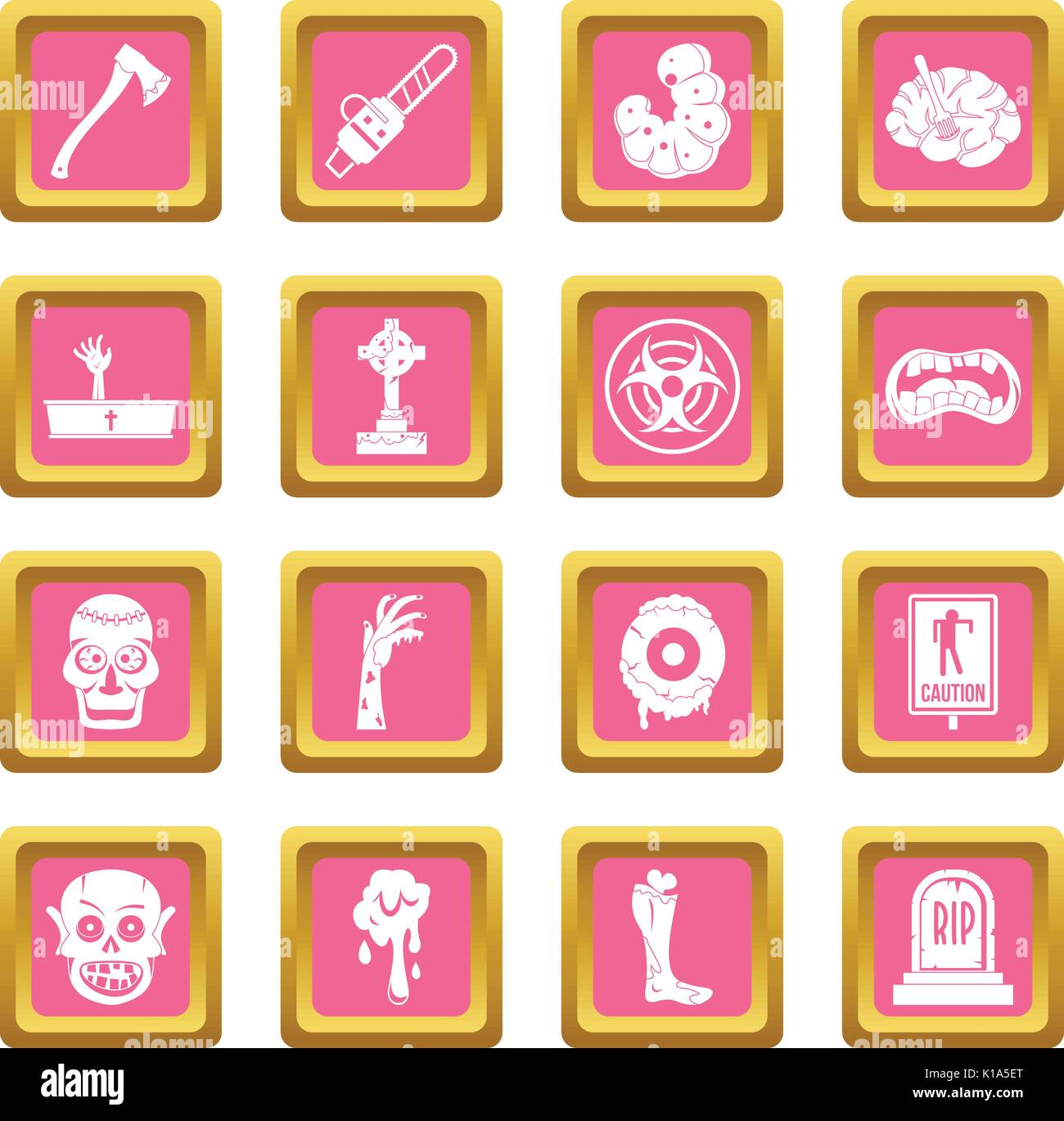 Zombie icons pink - Stock Vector