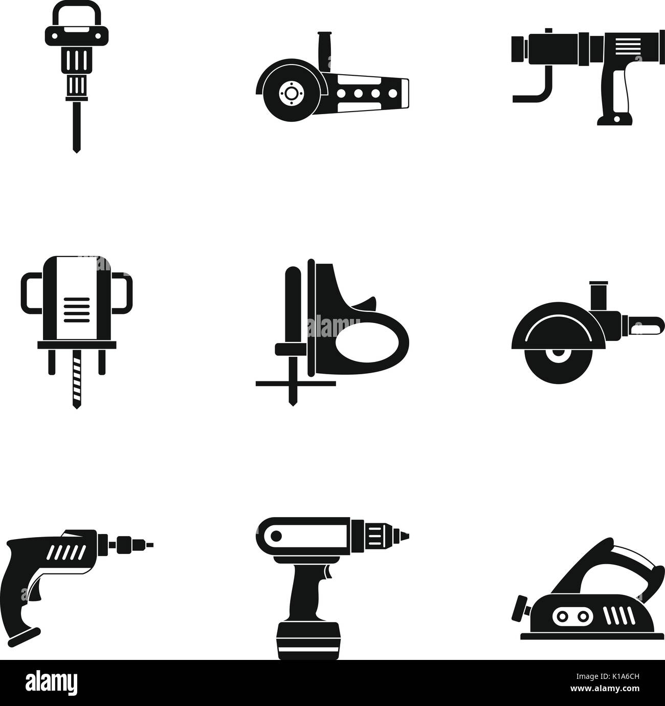 House electric tool icon set, simple style - Stock Image