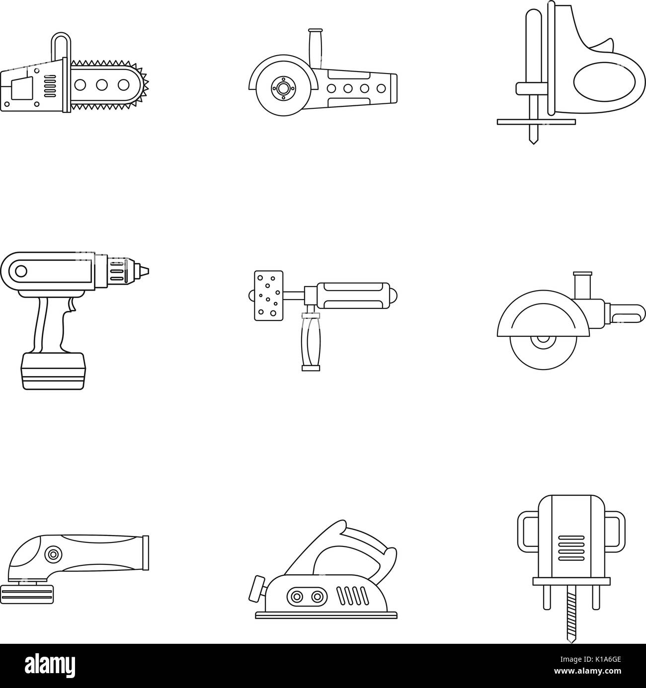 Electric power tool icon set, outline style - Stock Image