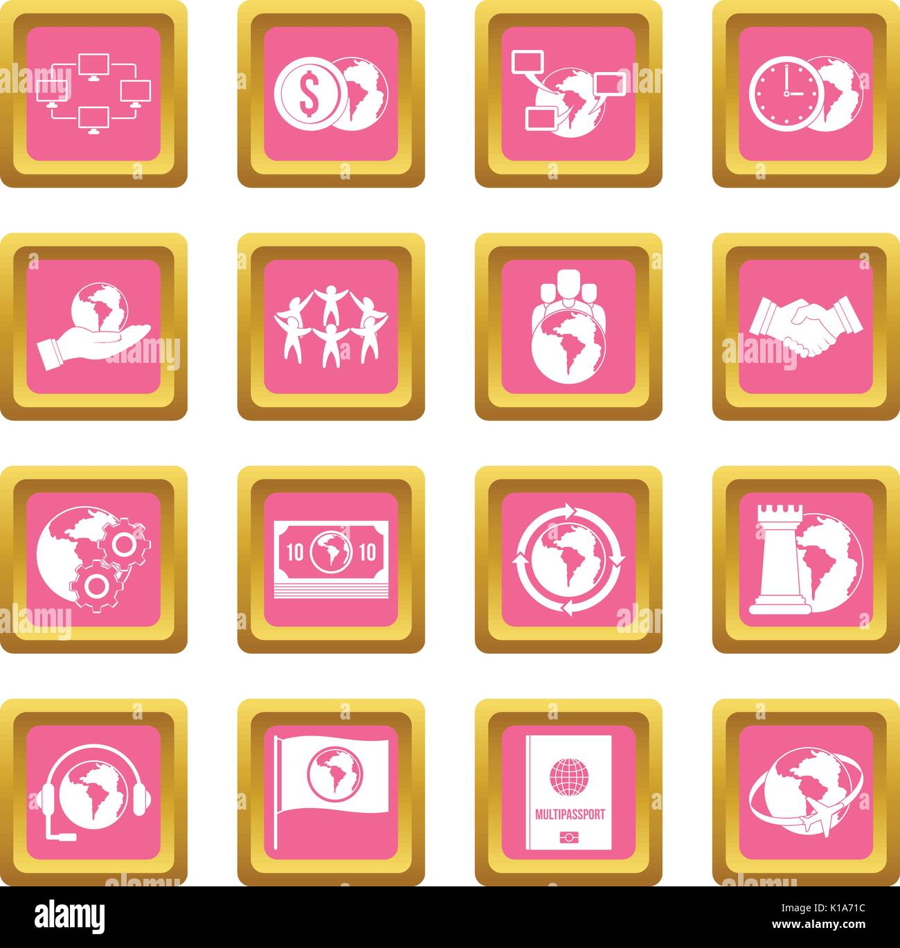 Global connections icons pink - Stock Vector