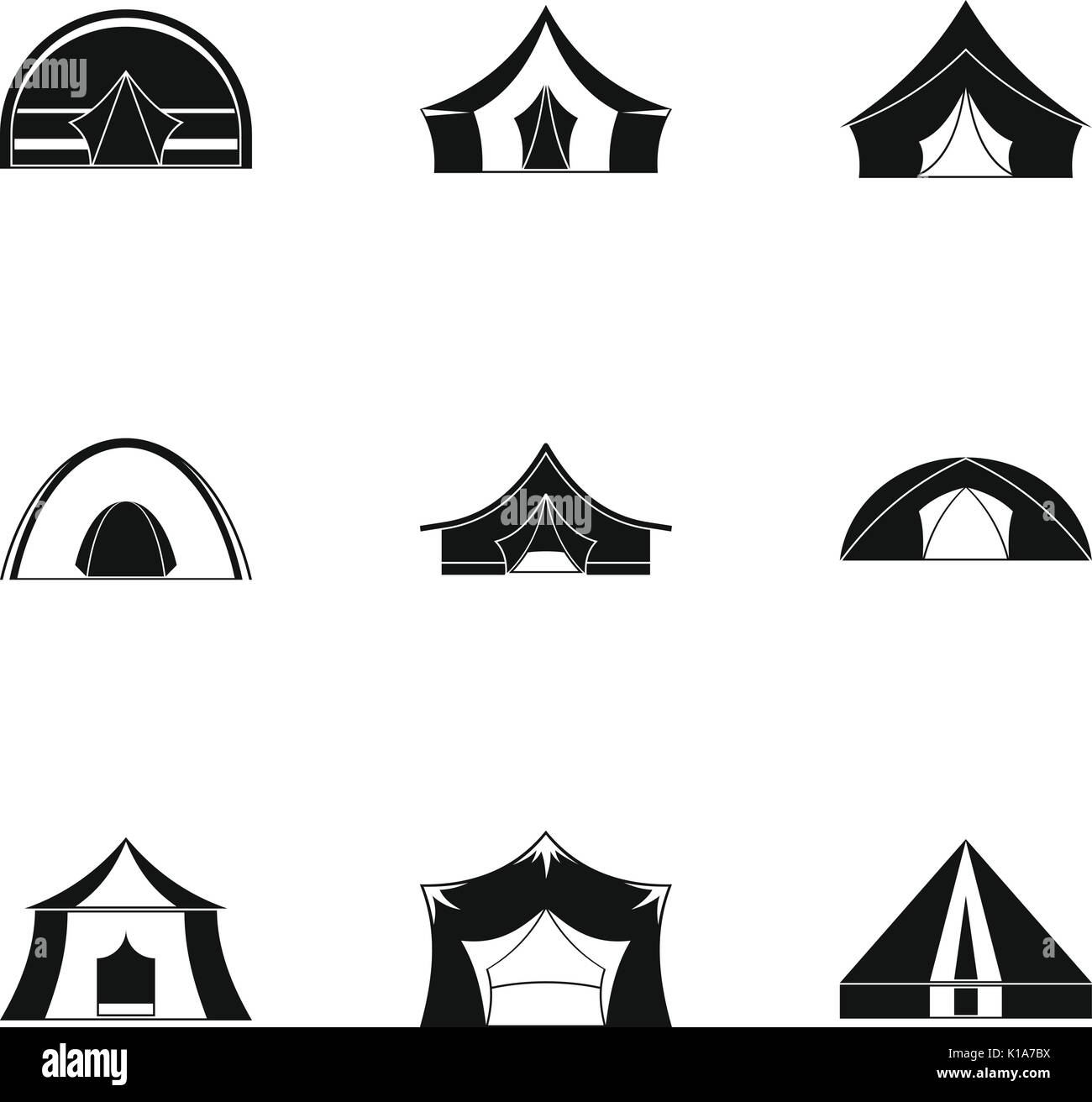 Travel tent form icon set, simple style Stock Vector Art