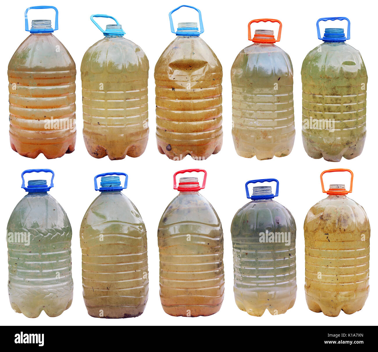 Infected with microbes and bacteria dirty dangerous water in standard plastic bottles. Iisolated  big set collage - Stock Image