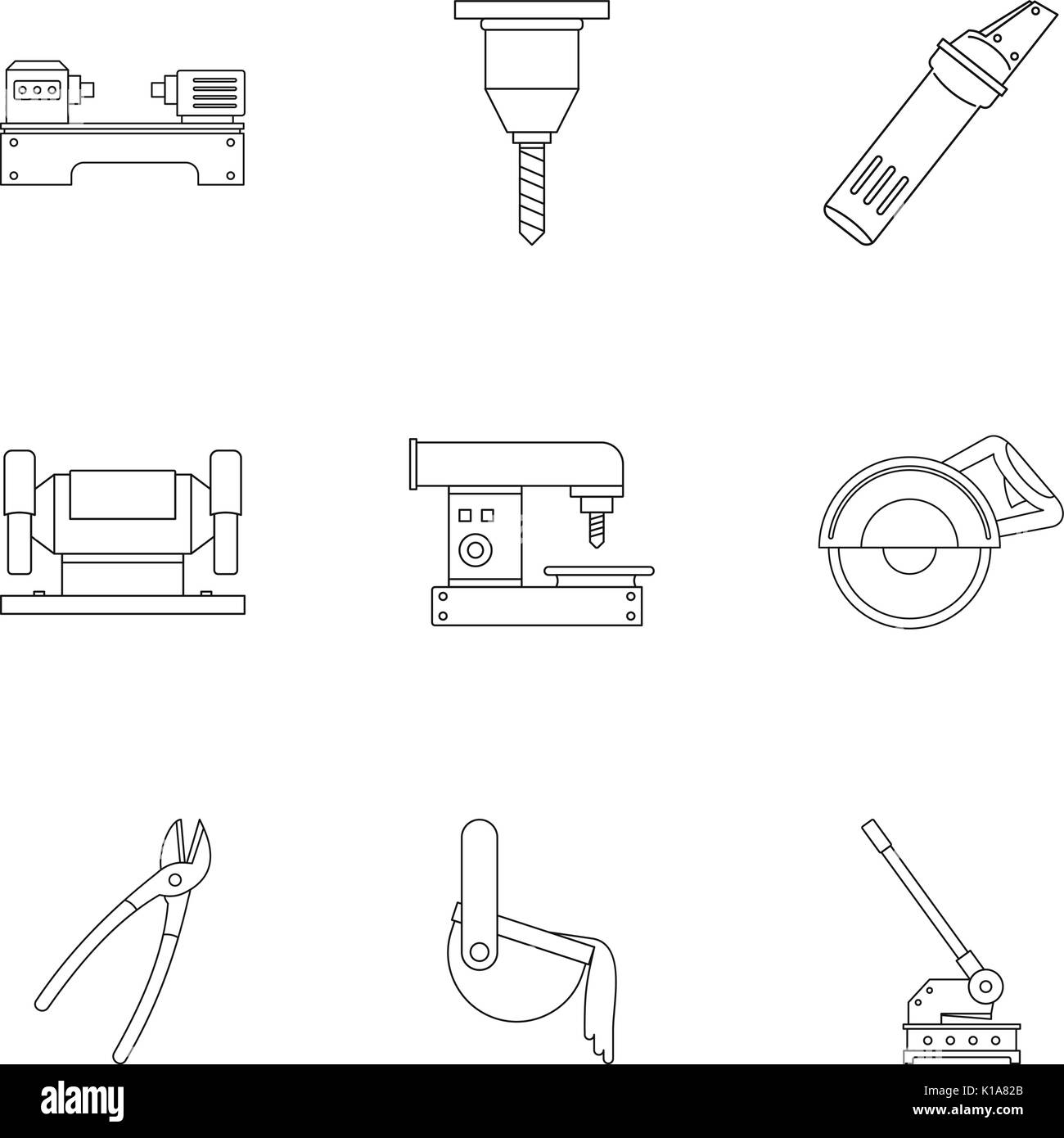 Metal processing profession icon set, outline style - Stock Image