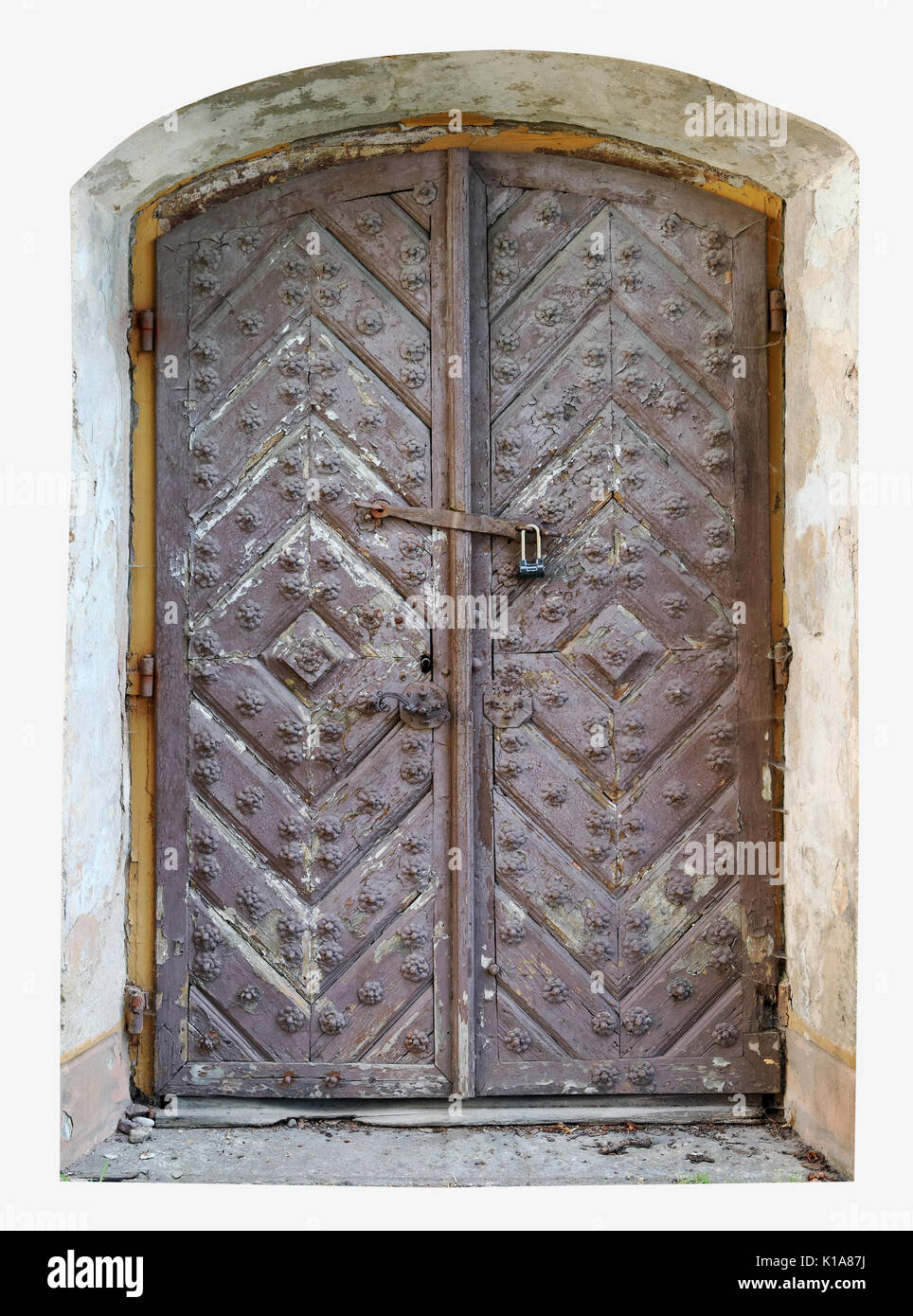 Locked rotten door to the dungeon of a medieval ruined castle concept. Isolated on white & Castle Dungeon Door Stock Photos \u0026 Castle Dungeon Door Stock Images ...