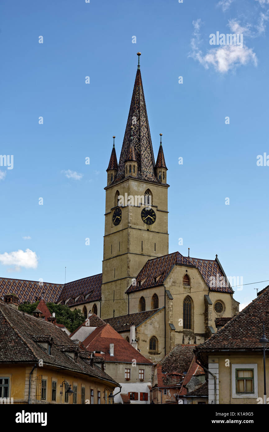 Evangelical Cathedral Sibiu Romania medieval architecture view from Cibin Stock Photo