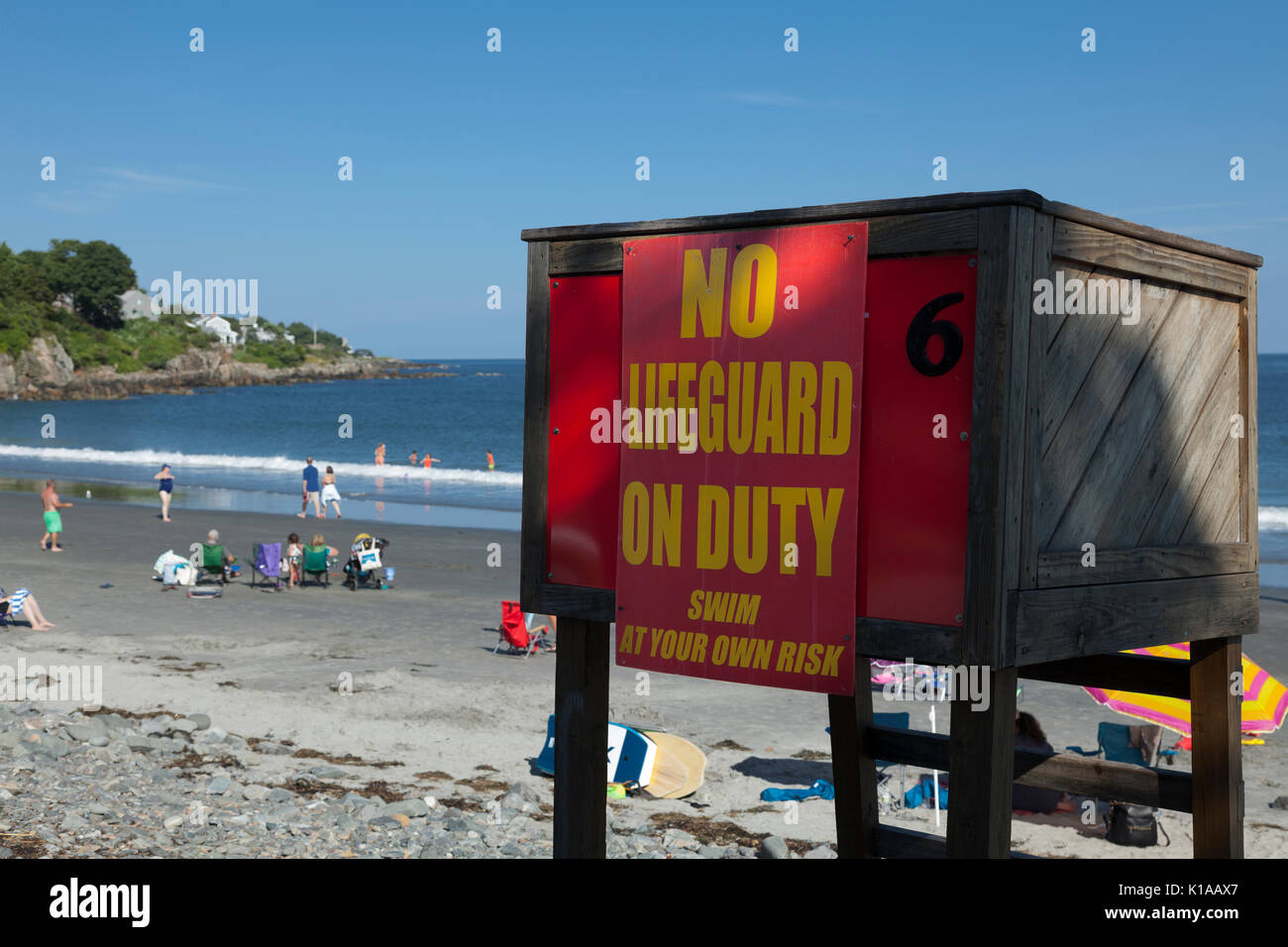 No lifeguard sign at York Harbor Beach, York, Maine - Stock Image