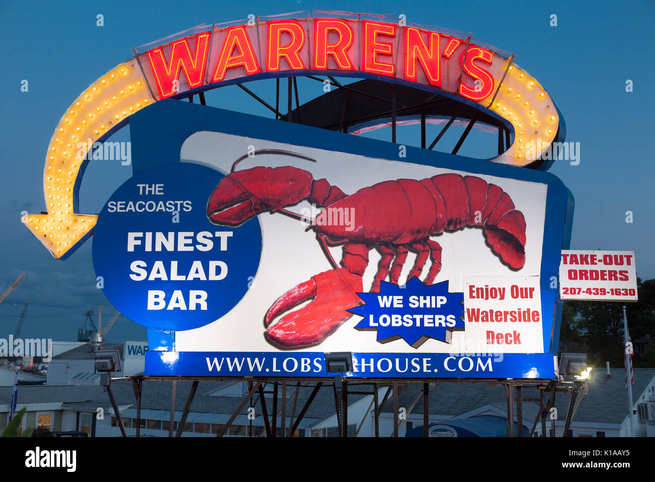 Warren's Lobster House neon sign, Kittery Maine - Stock Image