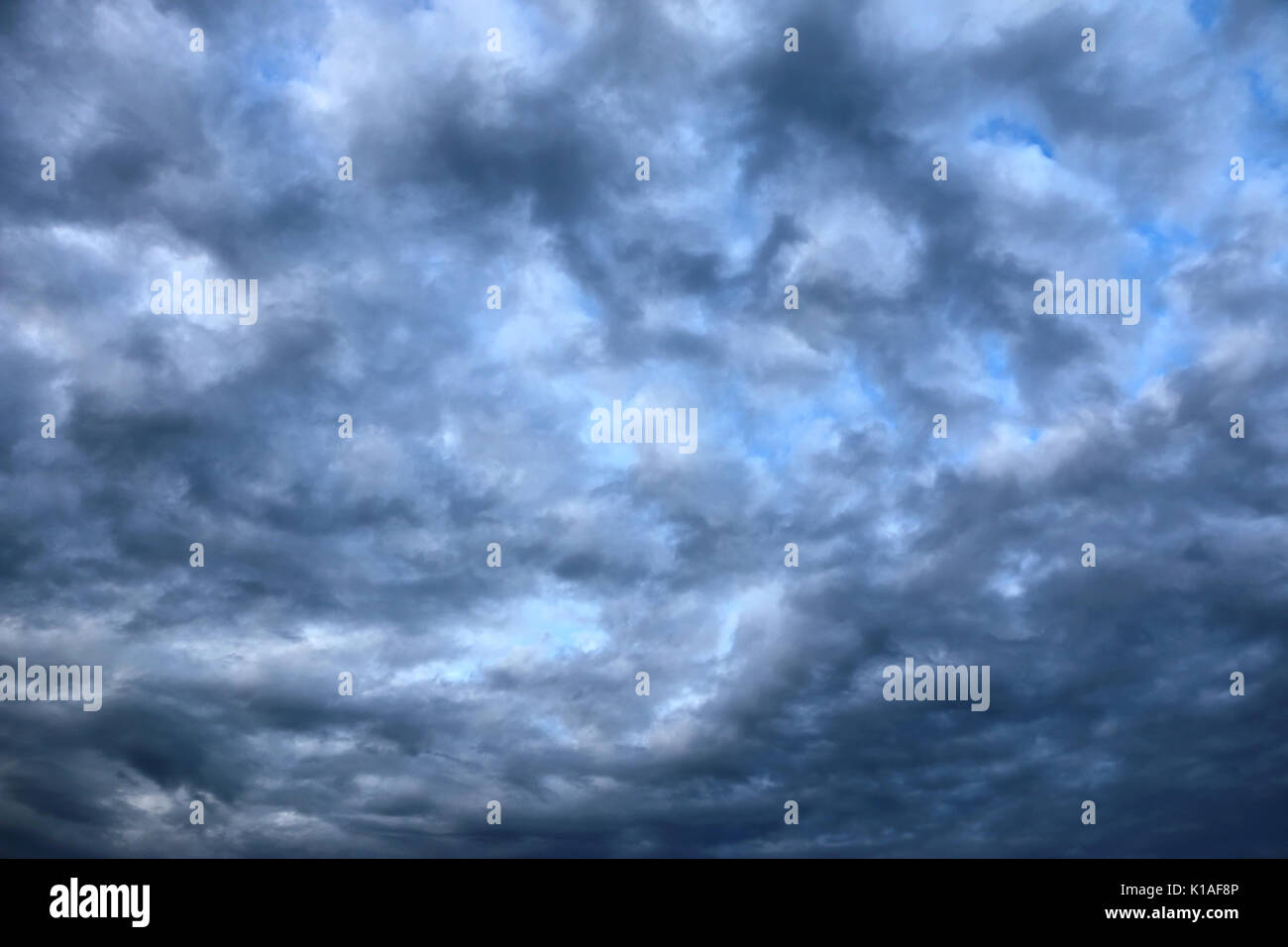 Fluffy clouds, heavily densed, covering the whole sky, giving it a bit of an artistic look - Stock Image