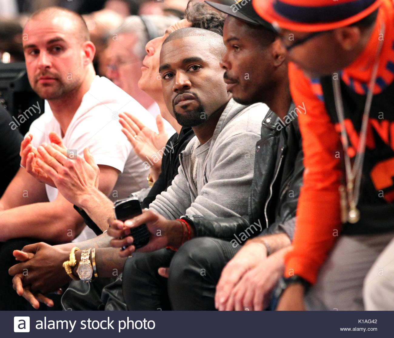 Kanye West. Kanye West, Ben Stiller And Mayor Michael Bloomberg Were In  Attendance At The Miami Heat Vs. New York Knicks Game At Madison Square  Garden.