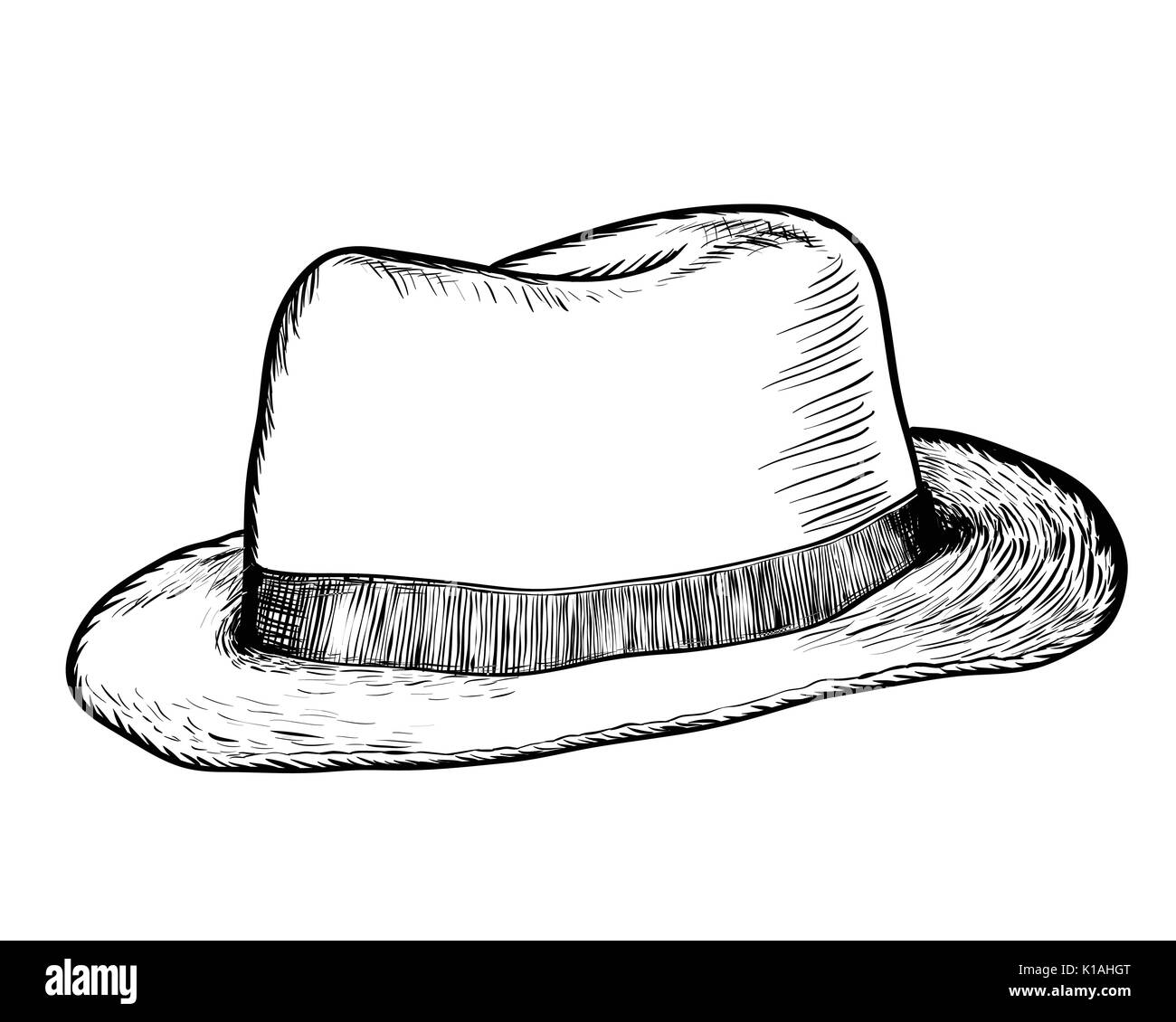 Hand Drawing Cowboy Hat Black And White Simple Line Vector Stock