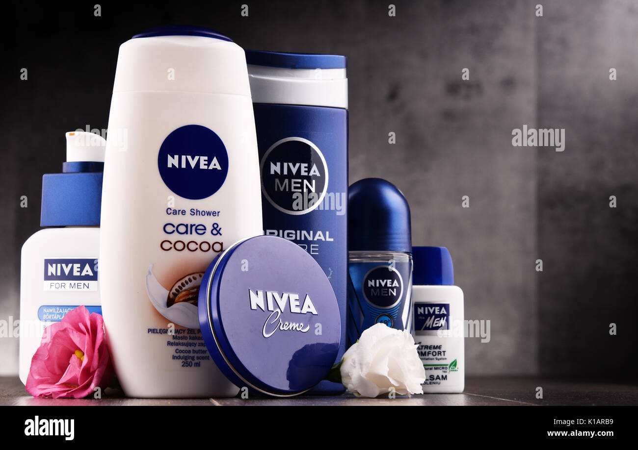 POZNAN, POLAND - AUG 11, 2017: Nivea is a German personal care brand that specializes in skin- and body-care products. It is owned by Beiersdorf Globa - Stock Image