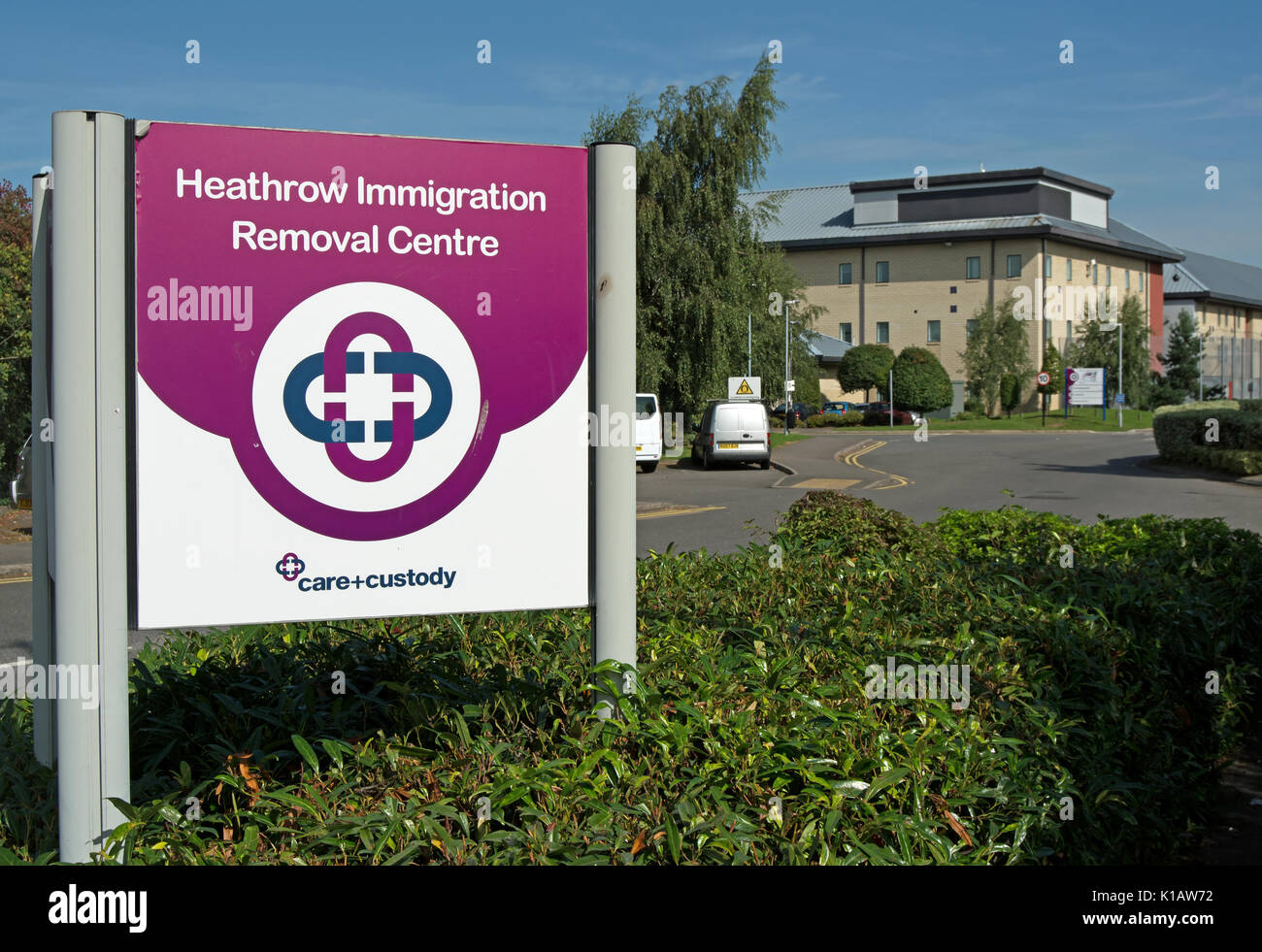 entrance sign for heathrow immigration removal centre, harmondsworth, london, england - Stock Image