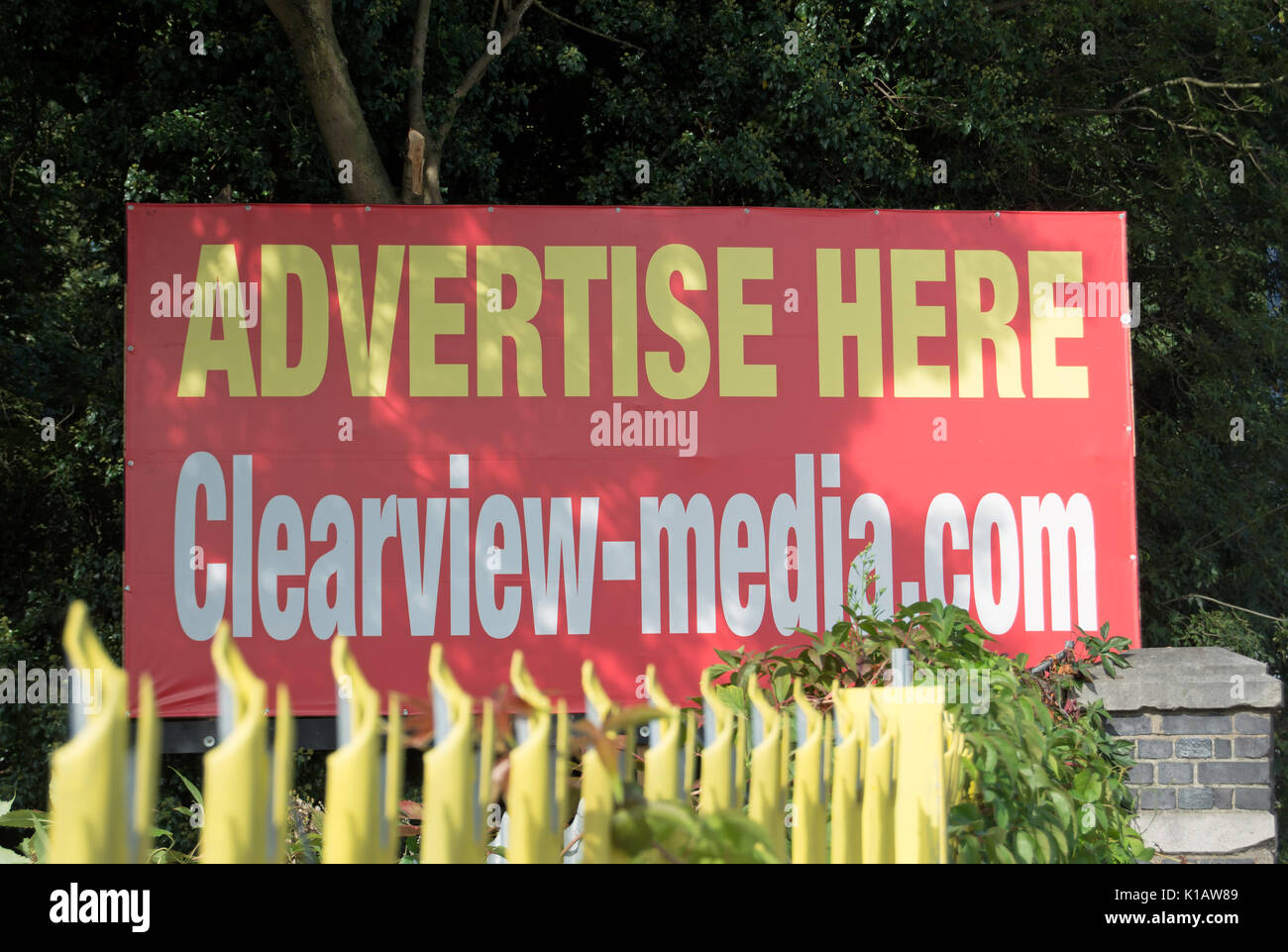 vacant billboard of advertising company clearview media with advertise here wording, near heathrow airport, london, england - Stock Image