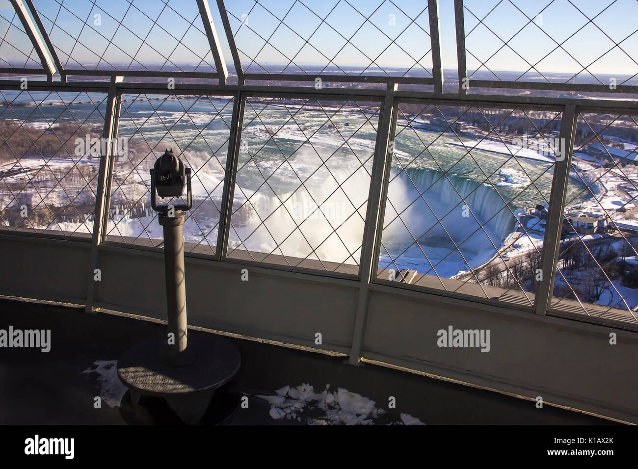 Coin Operated Telescope Binocular For Sightseeing on Skylon Tower observation deck Niagara Falls Canada - Stock Image
