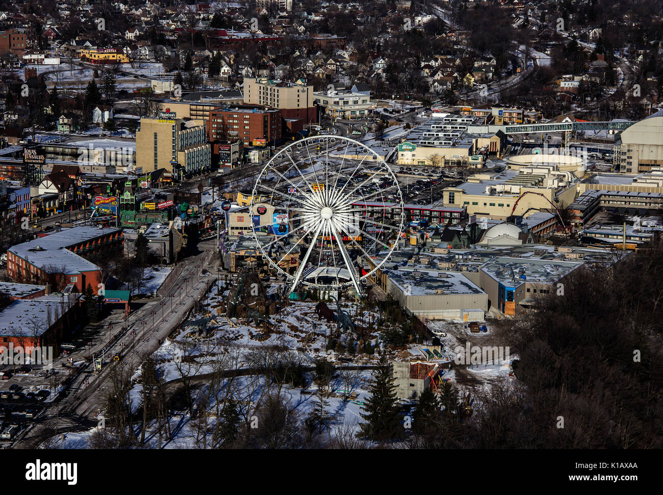 Niagara Falls; Ontario; Canada; View of the city of Niagara falls City and Sky Wheel ferris wheel, wintera - Stock Image