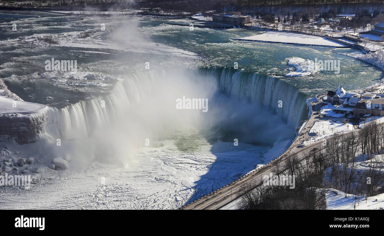 Niagara Falls On The Border Ontario River Between The Usa