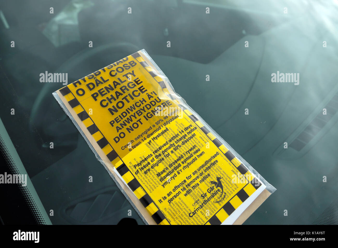 A bilingual Welsh English language penalty charge notice placed on the windscreen of a car in a carpark Carmarthenshire, Wales UK    KATHY DEWITT - Stock Image