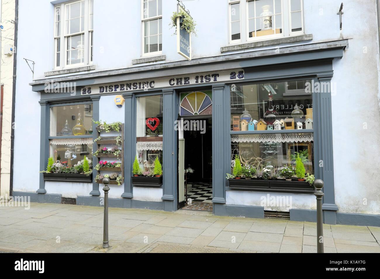 D. King Morgan Dispensing Chemist shop now a florist  in King Street Carmarthen, Carmarthenshire, Wales UK    KATHY DEWITT - Stock Image