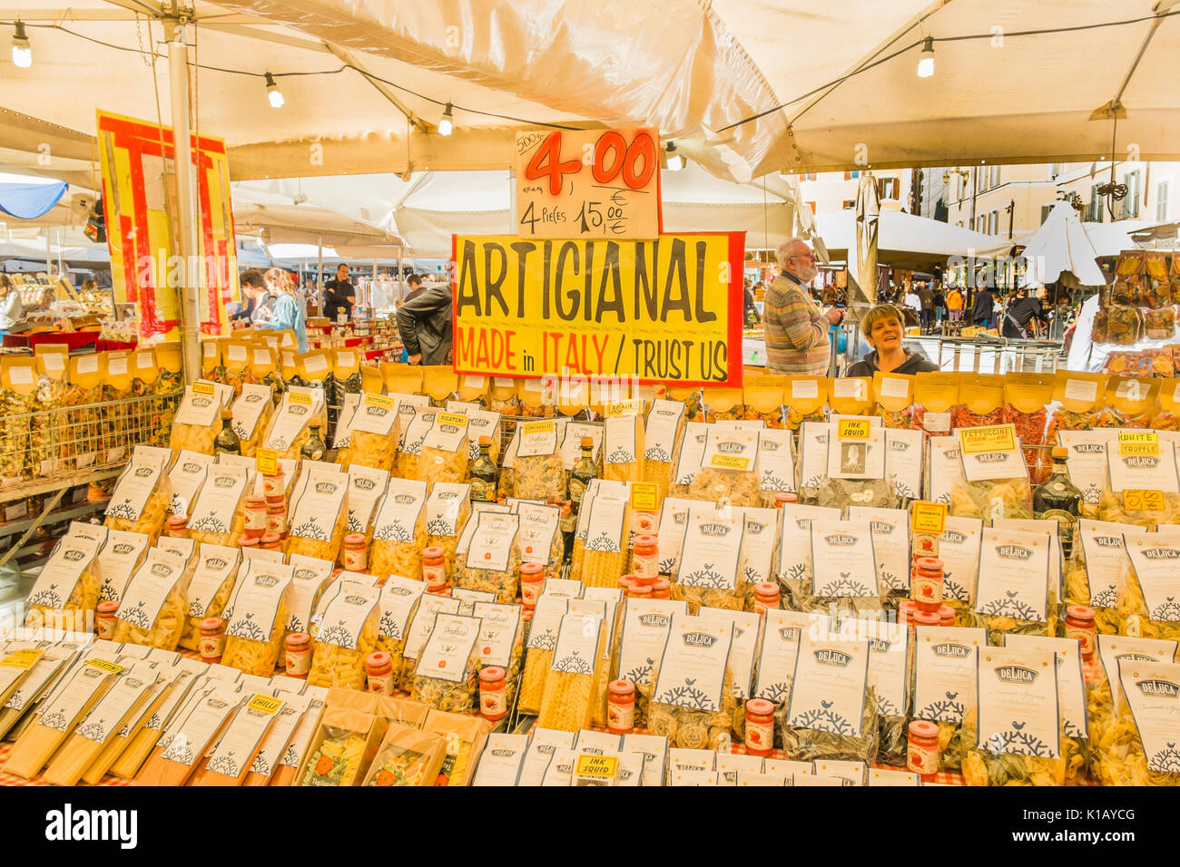 different types of  pasta for sale at a stall at campo dei fiori market - Stock Image