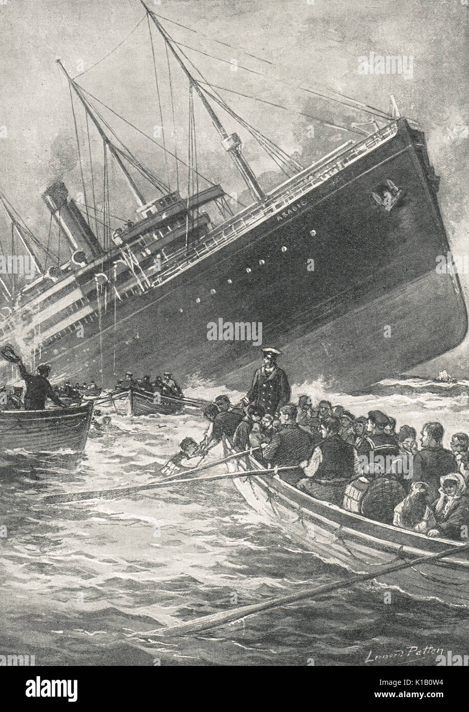 White Star Ocean liner SS Arabic, sunk by u boat, 19 August 1915,  WW1 - Stock Image