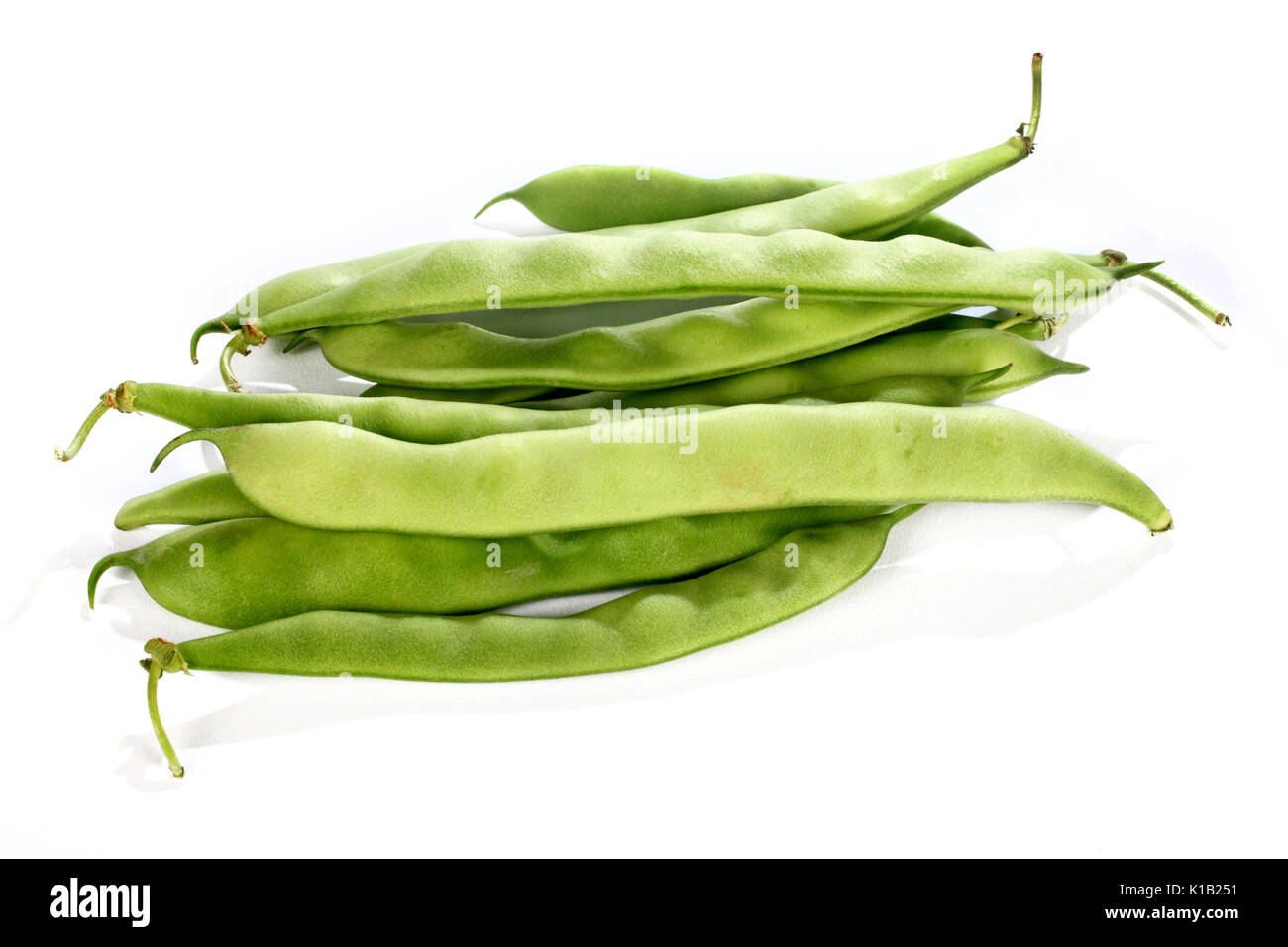 close up shot of green bean isolated over white - Stock Image
