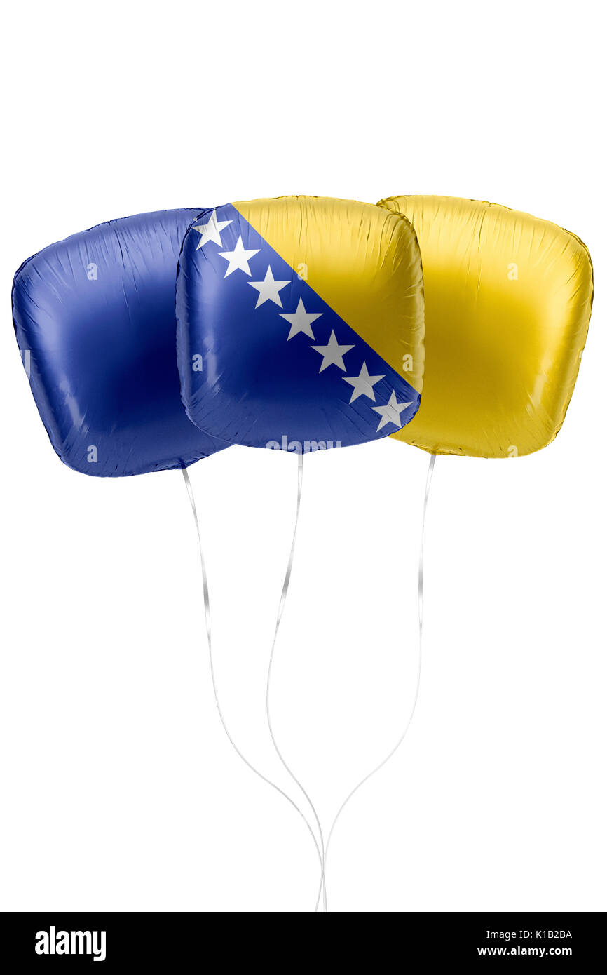 Three balloons represent Bosnia and Herzegovina flag colors are floating on a white surface with strings attached. 3D Rendering. - Stock Image