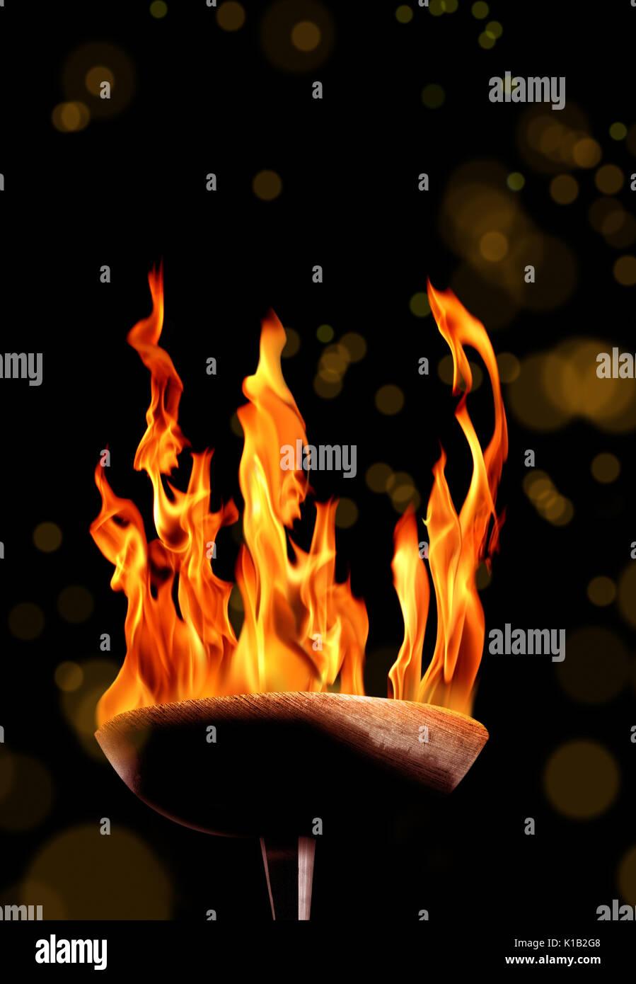 close up shot of burning flaming torch. Stock Photo
