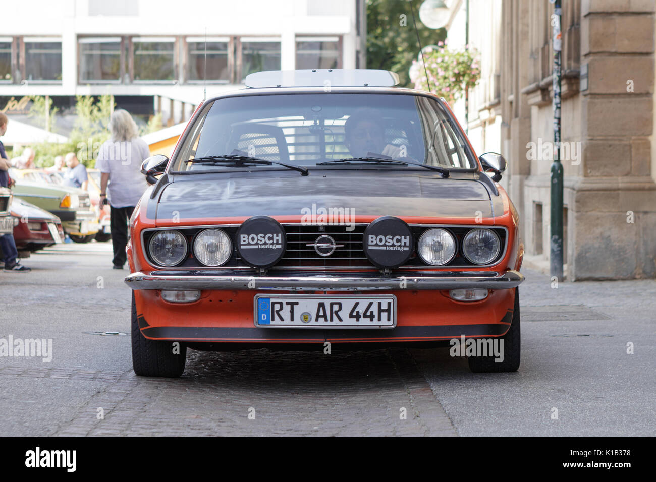 Reutlingen, Germany - August 20, 2017: Opel Manta SR oldtimer car at the Reutlinger Oldtimertag event on August Stock Photo