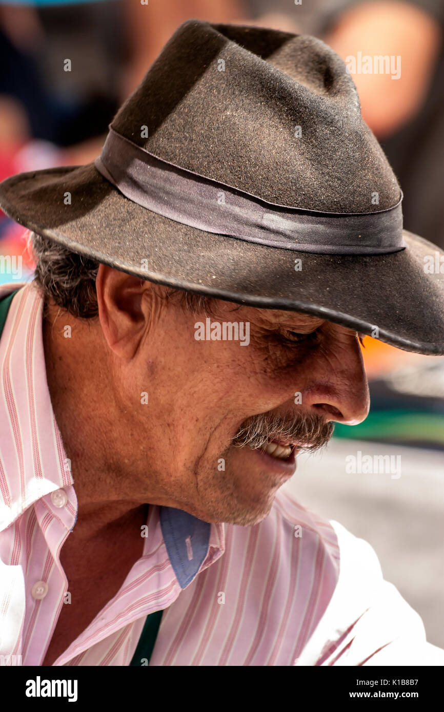 characterful Spanish man with hat and moustache - Stock Image