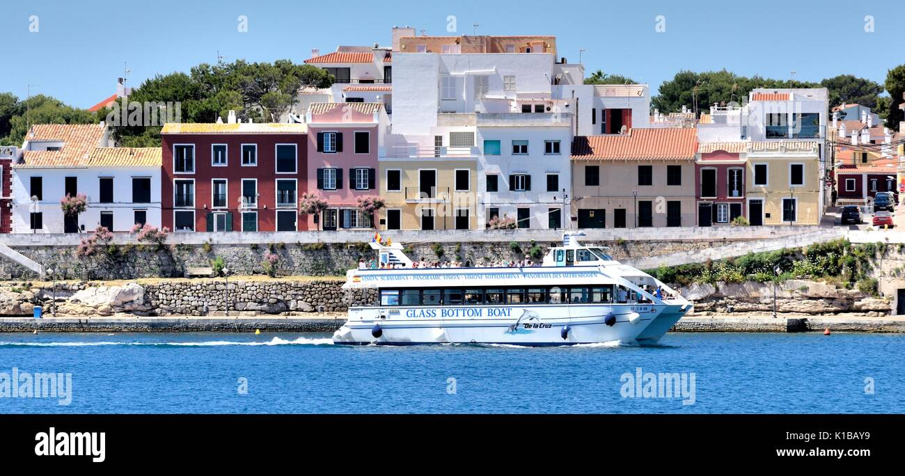 Glass bottom boat Mahon Menorca Minorca Spain - Stock Image